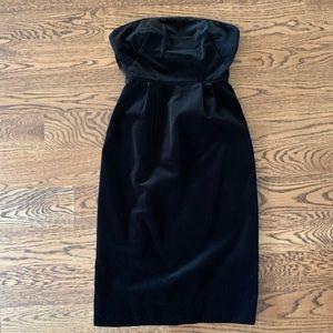 Strapless black jcrew velvet dress